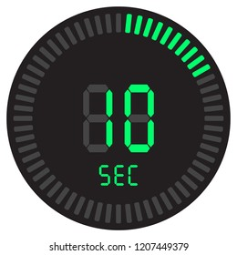 The digital timer 10 seconds. electronic stopwatch with a gradient dial starting vector icon, clock and watch, timer, countdown symbol.