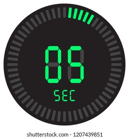 The digital timer 5 seconds. electronic stopwatch with a gradient dial starting vector icon, clock and watch, timer, countdown symbol.