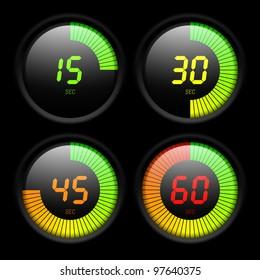 Digital timer. Vector.