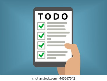 Digital todo list concept with hand holding smart phone