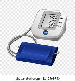 Digital tonometer mockup. Realistic illustration of digital tonometer vector mockup for on transparent background