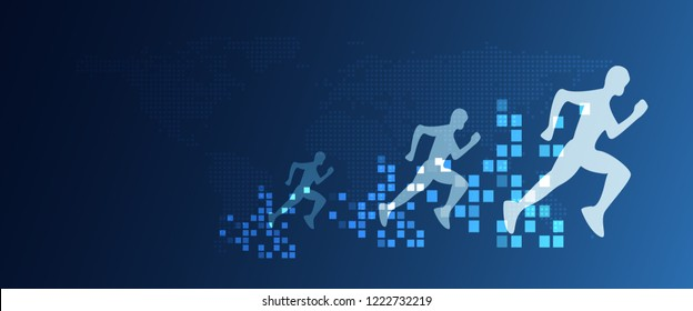 Digital transformation abstract running people with speed increasing from pixels. Business and technology concept. Digital creative marketing. Disruptive and future change situation concept.