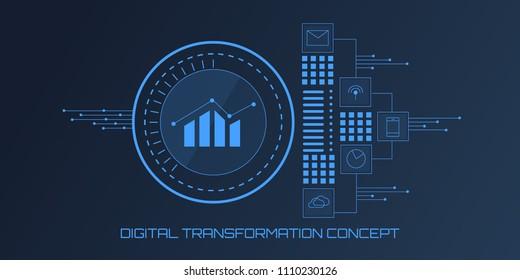 Digital Transformation - Big Data - Data Science - Data Visualization - Vector banner illustration