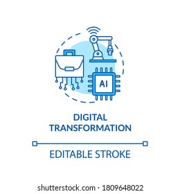 Digital transformation turquoise concept icon. Artificial intelligence. Automatization of factory idea thin line illustration. Vector isolated outline RGB color drawing. Editable stroke