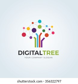 Digital Tree logo, Brain and tree design concept for education learning and technology business company.