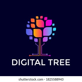 Digital tree logo, colorful tree icon, colored leaf, computer data base, flat logo template, minimal style emblem. Concept logotype design for business, web and presentation. Vector logo