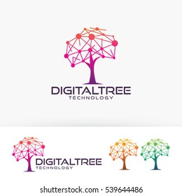 Digital tree logo design. Digital and Network, Technology logo concept. Vector logo template