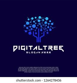 Digital Tree logo designs concept vector Dark background, Modern Tree tech logo template, Logo symbol icon