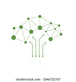 Digital tree made of circuits, conceptual illustration, Abstract background