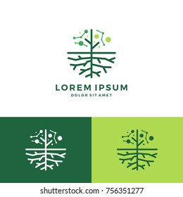 digital tree and root logo vector leaf round circle emblem badge download