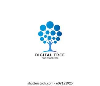 Digital Tree, technology, nature, wireless, internet, network, technologies vector logo template