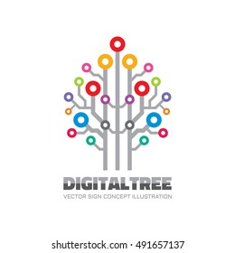 Digital tree - vector logo template concept illustration in flat style. Computer network technology sign. Electronic design element.