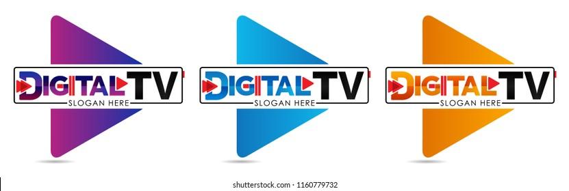 Digital TV logo Template. Media company logo or film production studio or audio-visual studio or on-line media. TV company. Creative media television logotype. Abstract colored vector play logotype.