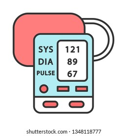 Digital upper arm blood pressure monitor color icon. Oximeter. Pulse, heart rate control medical device. Systolic, diastolic blood pressure measurement. Sphygmomanometer. Isolated vector illustration