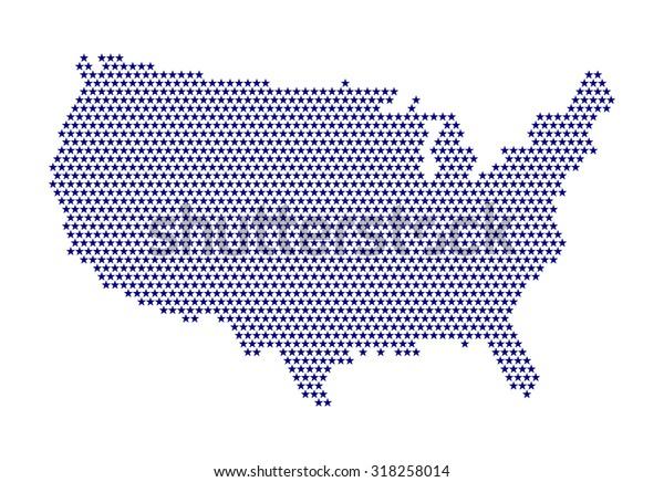 Digital Usa Map Stars Purple Color Stock Vector (Royalty Free) 318258014