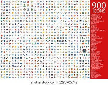 Digital vector 900 simple color icons set collection flat style