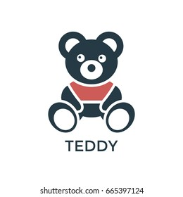 Digital vector black red big teddy bear children toy icons with drawn simple line art info graphic, promo template, flat