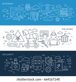 Digital vector blue internet security data protection icons set drawn simple line art info graphic poster, hacker user bug vulnerability mobile email trojan malware bank cloud spy intercept mask, flat