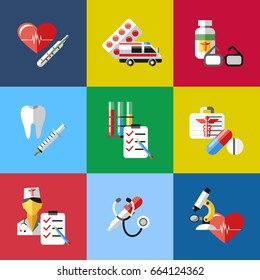 Digital vector blue red pharmacy medical icons set with drawn simple line art info graphic, ambulance tooth pills nurse heart tubes syringe medicine dropper first aid thermometer hospital, flat style