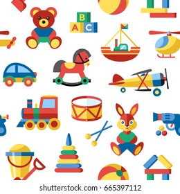 Digital vector blue yellow children toys icons with drawn simple line art info graphic, seamless pattern, presentation with bear, plane and bunny elements around promo template, flat
