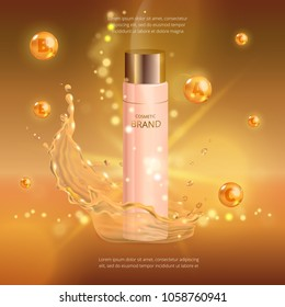 Digital vector collagen oil essence mockup on, with your brand, ready for print ads or magazine design.