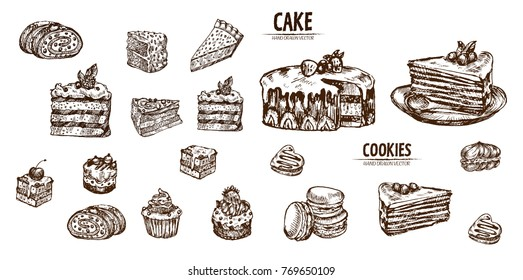 Digital vector detailed line art sliced cake and cupcakes hand drawn retro illustration collection set. Thin artistic pencil outline. Vintage ink flat, engraved design doodle sketches