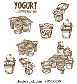 Digital vector detailed line art packed yogurt hand drawn retro illustration collection set. Thin artistic pencil outline. Vintage ink flat, engraved mill doodle sketches. Isolated
