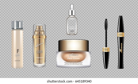 Digital vector eye care cream, eyelash applicator and mascara brush cosmetic container set mockup collection, cream and lotion, magazine design. Transparent and shine template, realistic 3d style