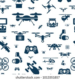 Digital vector flying drone objects color simple flat icon set collection, isolated seamless pattern