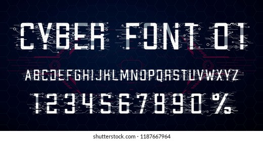 Digital vector Font design. Letters,  Numbers and percent symbol for advertising materials, web and app. Cyber Monday. Hi-tech style alphabet and numbers. Tech theme.