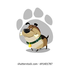 Digital vector funny comic cartoon colored happy puppy dog with a bone in mouth, foot print, green colar and golden medal, hand drawn illustration, abstract realistic flat style