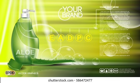 Digital vector green shower gel cosmetic container mockup, your brand, ready for print ads or magazine design. Aloe vera and soap bubbles. Transparent, shine, realistic 3d, reflection