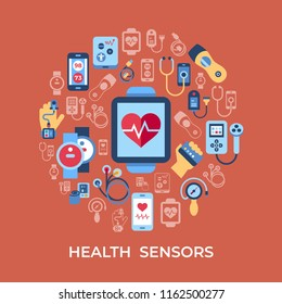 Digital vector health sensor icons set with drawn simple line art info graphic, flat style