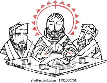 Digital vector illustration or drawing of Jesus Christ and disciples at Emaus