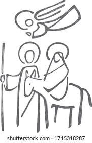 Digital vector illustration or drawing of Virgin Mary Saint Joseph and angel at Nativity scene