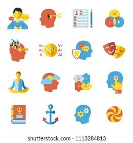 Digital vector neuro linguistic programming icon set