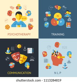 Digital vector neuro linguistic programming icon set