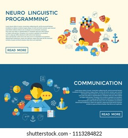Digital vector neuro linguistic programming icon set infogprahics