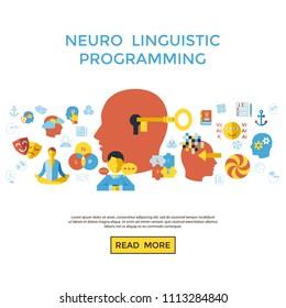 Digital vector neuro linguistic programming icon set infogprahics