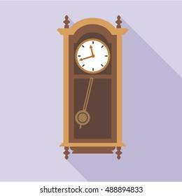 Digital vector old clock in wooden furniture, over purple background, flat style