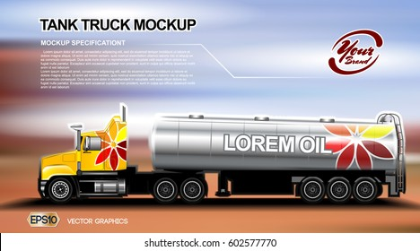 Digital vector orange new modern tank truck close up mockup, ready for print or magazine design. Your brand, oil transport. Brown and blue background. Realistic 3d
