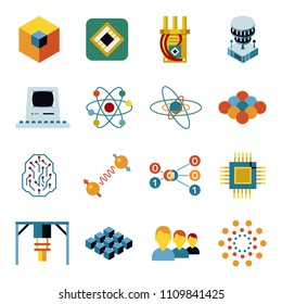 Digital vector quantum computing and qubits icon set pack illustration, simple line flat style