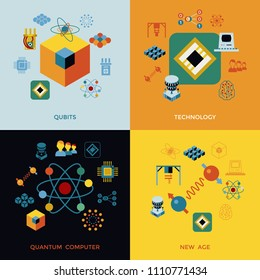 Digital vector quantum computing and qubits tech icon set pack illustration, simple line flat style infographics