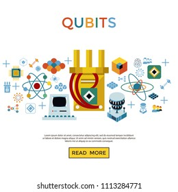 Digital vector quantum computing and qubits icon set pack illustration, simple line flat style infographics