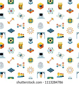 Digital vector quantum computing and qubits icon set pack illustration, simple line flat style seamless pattern