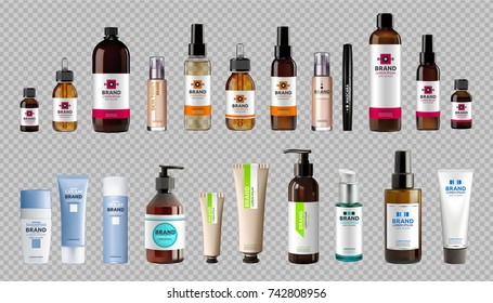 Digital Vector Realistic Bottles Set Collection Mockup. Cosmetics body care and hair care