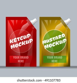Digital vector red and brown ketchup and mustard package mockup, ready for your logo and design, flat style