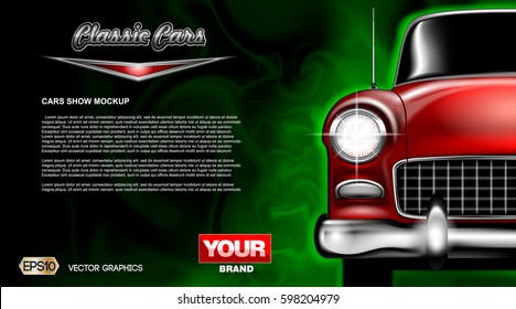 Digital vector red old classic car close up mockup, ready for print or magazine design. Your brand, auto show and exhibition, lights on. Black background, green fog. Transparent, realistic 3d