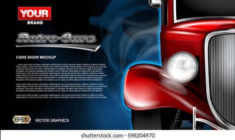 Digital vector red old retro car close up mockup, ready for print or magazine design. Your brand, auto show and exhibition, lights on. Black background, blue fog. Transparent, realistic 3d
