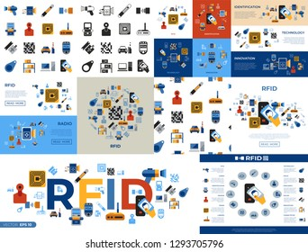 Digital vector rfid radio frequency identification chip simple icons set collection flat style infographics